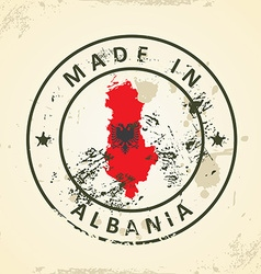 Stamp with map flag of Albania vector image