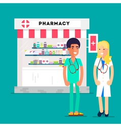Doctors pharmacy characters vector