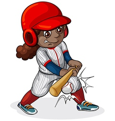 A black girl playing baseball vector