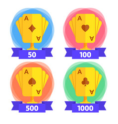 Awards for the winner in playing cards with vector
