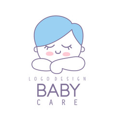 Baby care logo design emblem with cute sleeping vector