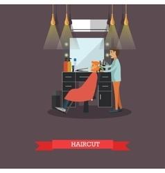Barbershop concept in flat vector