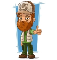 Cartoon bearded trucker in cap vector