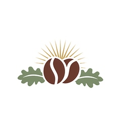 Coffee bean with leaf abstract logo vector