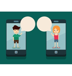 Communication with smartphone vector
