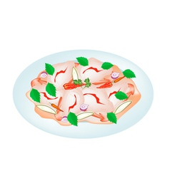 Delicious thai shrimp salad on a plate vector