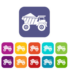 Dump truck with sand icons set vector