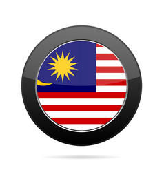 Flag of malaysia shiny black round button vector