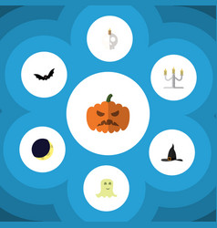 Flat icon halloween set of candlestick vector