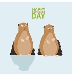 Happy groundhog daylogo icontwo marmotone vector
