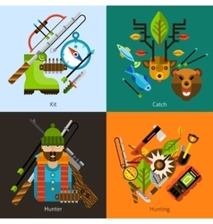 Hunting and fishing flat set vector