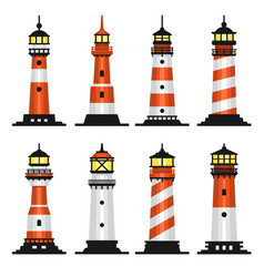 lighthouse set flat style on white background vector image vector image