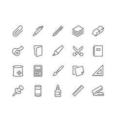 Line Stationery Icons vector image