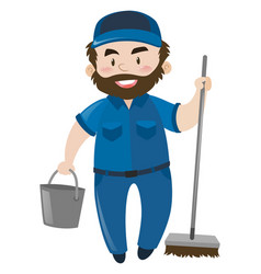 Male janitor in blue uniform vector