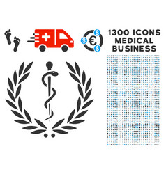 Medical honor laurel wreath icon with 1300 medical vector