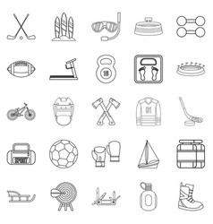 Racetrack icons set outline style vector