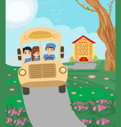 School bus with happy children vector