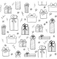 Seamless pattern with hand drawn gift boxes vector image