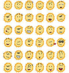 Set of funny sun character emojis vector