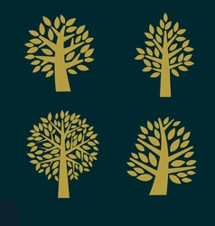 Set of gold Tree symbol isolated on dark backgroun vector image