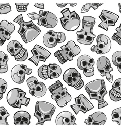 Skeleton skulls seamless pattern background vector image