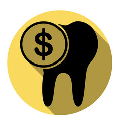 the cost of tooth treatment sign flat vector image