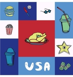 USA Squared Concept with Doodles vector image