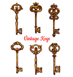 Vintage brass keys isolated icons set vector