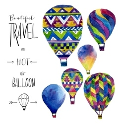 Watercolor card with hot air balloon Hand drawn vector image vector image