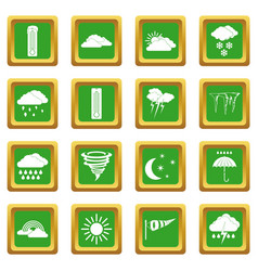 Weather set icons set green vector