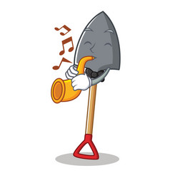 With trumpet shovel character cartoon style vector