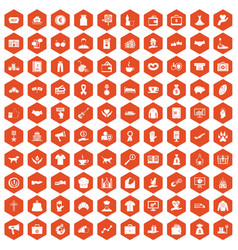 100 charity icons hexagon orange vector