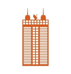 Building tower silhouette icon vector