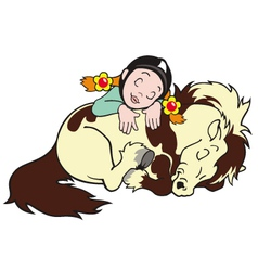 Sleeping girl with pony vector