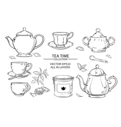 Tea set on white background vector
