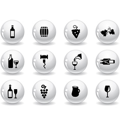 Web buttons wine icons vector image