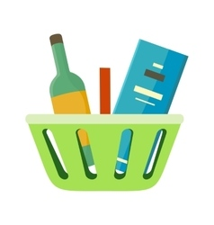 Shopping basket with goods vector
