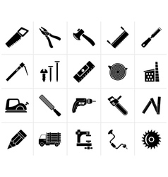 Black carpentry logging and woodworking icons vector