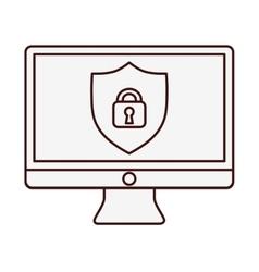 Desk computer icon image vector