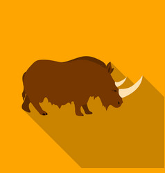 Woolly rhinoceros icon in flate style isolated on vector