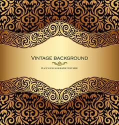 Antique victorian gold ornamental card vector image