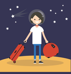 mars colonization young teenage girl moving to vector image