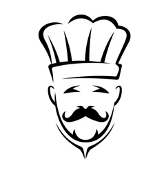 Stylized black and white chef icon vector