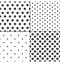 Polka dot black and white painted seamless vector