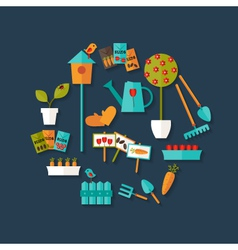 Gardening icons set over dark blue vector image