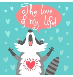 Cute raccoon confesses his love vector image