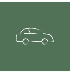 Car icon drawn in chalk vector