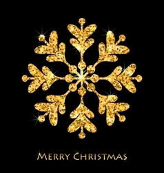 Golden merry christmas sparkle snowflakes vector