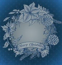 Merry christmasr greeting card with winter plant vector