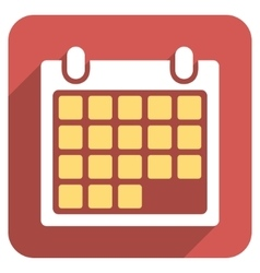 Month calendar flat rounded square icon with long vector